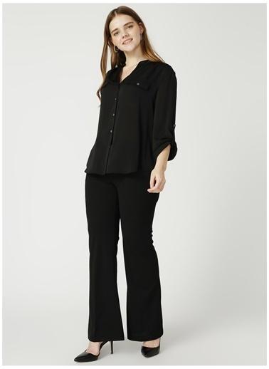 Ekol Ekol 29521275 Uzun Kollu V Yaka Düğme Kadın Bluz Siyah